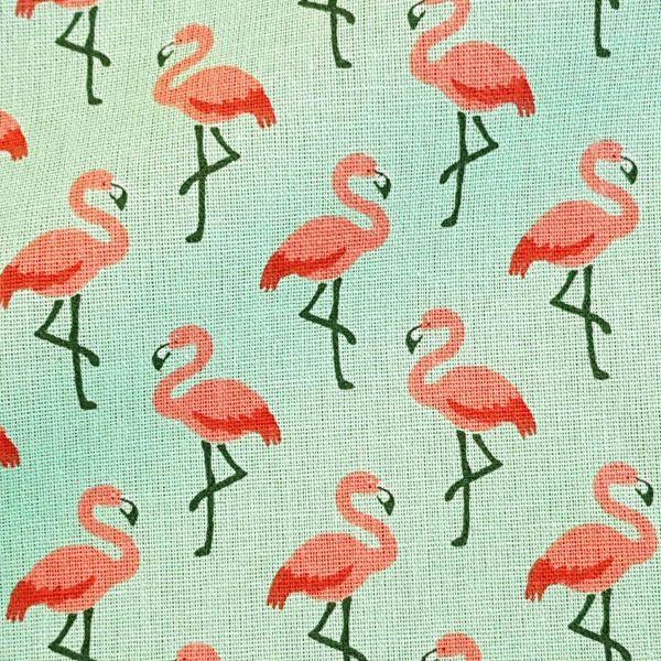 Stoff Baumwolle Flamingos mint koralle 0,5