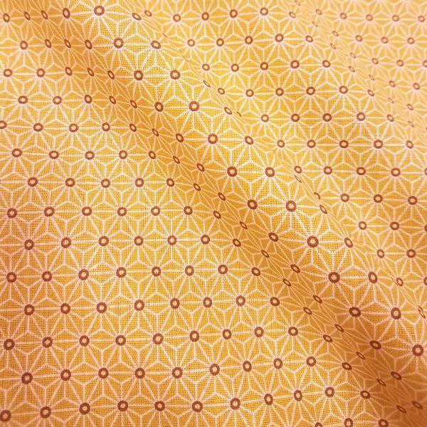 Stoff Baumwollstoff Japan Asanoha Grafik mandarine orange weiß Kimono