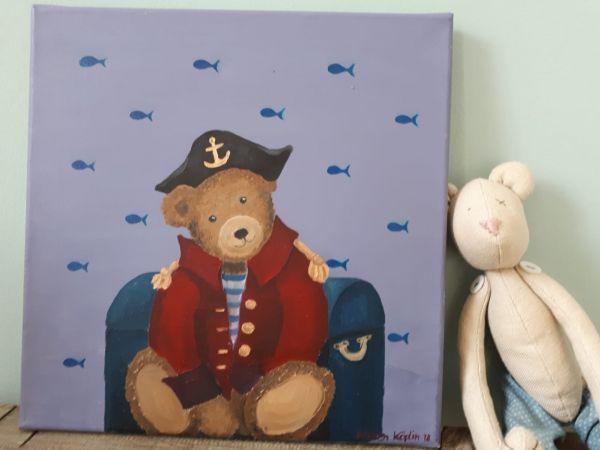 """Bild Öl auf Leinwand Teddy """"Kapitän"""""""