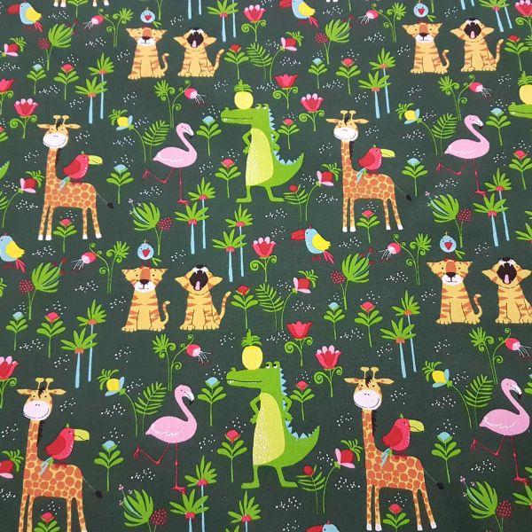 Stoff Meterware Baumwollstoff grün Tiger Flamingo Giraffe Krokodil 0,5