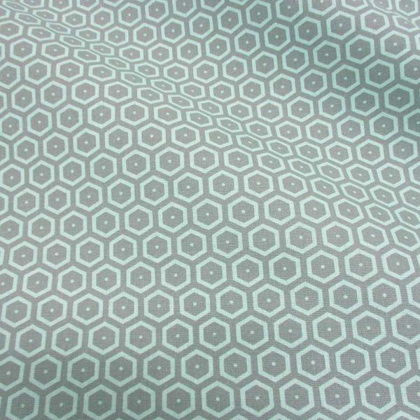 Stoff Baumwolle Waben grau mint neu aus Frankreich Bienenwaben