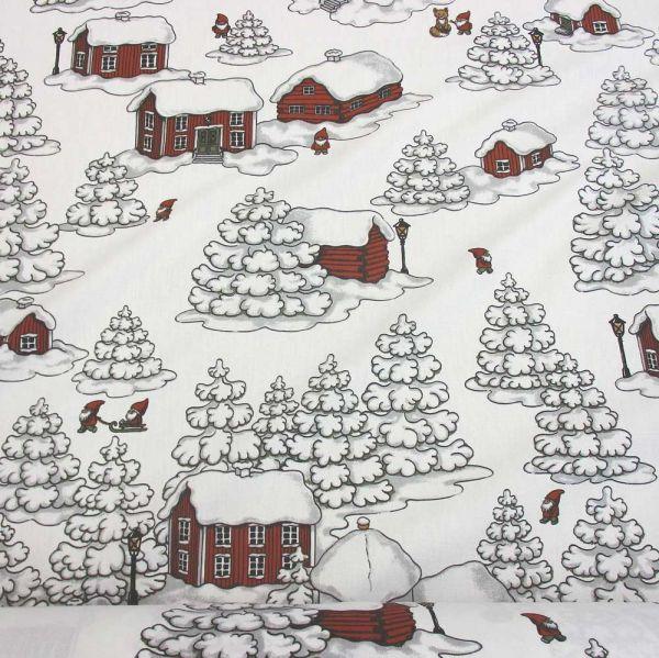 Stoff Baumwolle weiss Wichtel Zwerge Schnee Haus