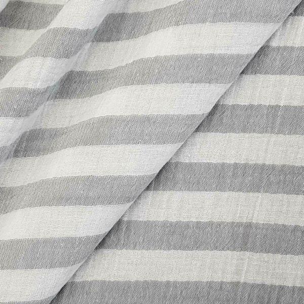 Stoff Baumwolle Musselin Streifen gewebt grau weiss Mulltuch 0,5
