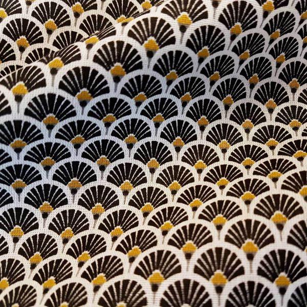 Stoff Baumwolle japanische Fächer rund schwarz