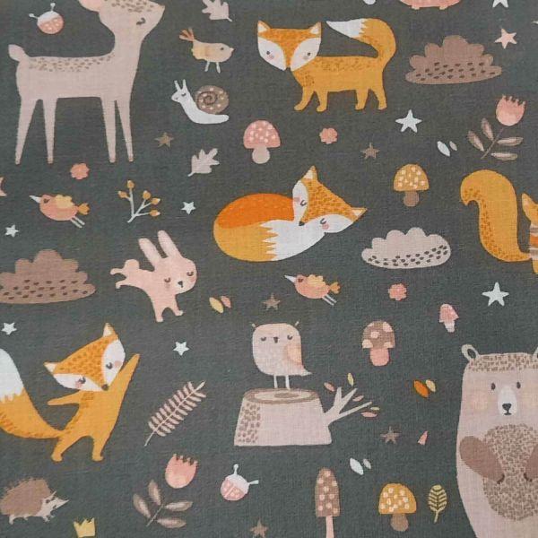 """Stoff Meterware Baumwolle grau Waldtiere """"Feline"""" Reh Fuch Bär 0,5"""