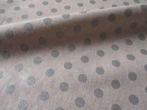 Stoff Baumwollstoff Leinenoptik natur Punkte Dots sillber