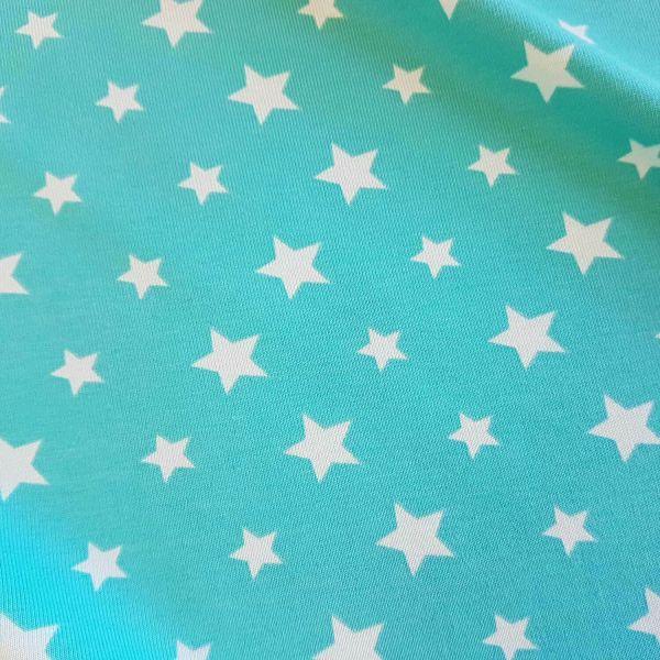 Stoff Jersey Baumwolle Sterne türkis hellblau helltürkis Sonderpreis 0,5