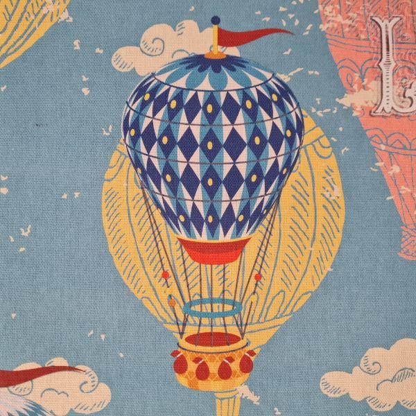 "Stoff Baumwolle ""Fesselballons"" Heissluftballons Himmelblau Nostalgie 0,5"