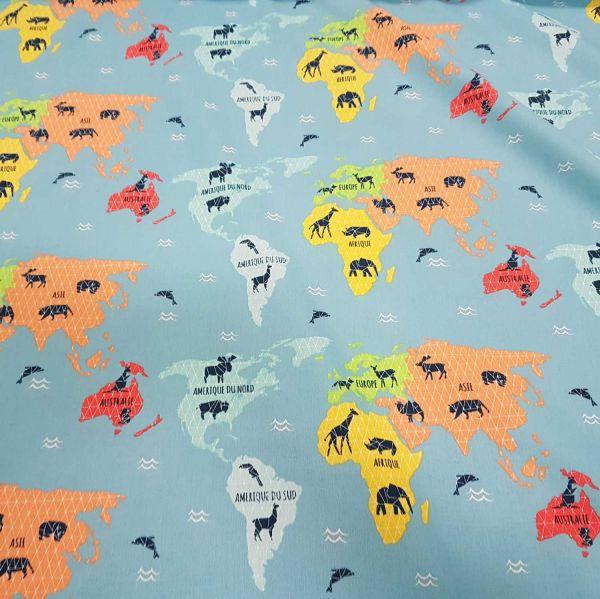 Stoff Baumwollstoff Weltkarte Tiere hellblau grün orange gelb rot
