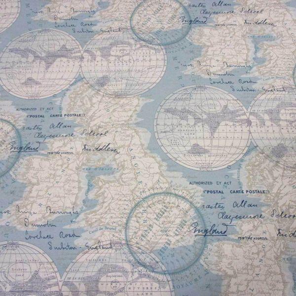 Stoff Meterware Baumwollstoff pflegeleicht England hellblau Karte Globus