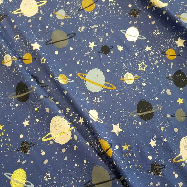 Stoff Baumwolle Jersey marine gold Weltall Planet Sterne Weltall