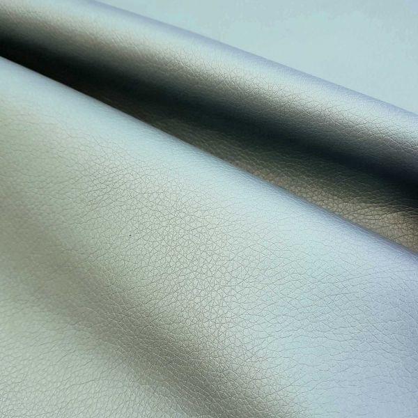 Meterware Kunstleder Nappa eisblau metallic Möbelbezug Taschen