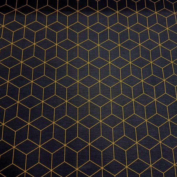 Stoff Baumwolle Meterware dunkelblau/grau gelb Würfel retro Origami Grafik Dekostoff