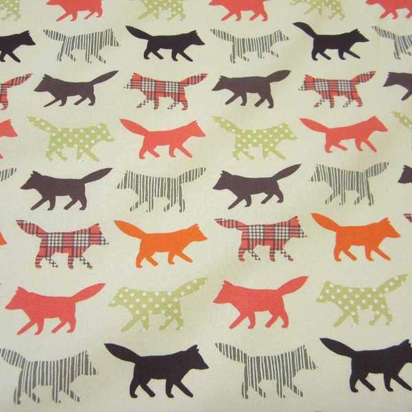 Stoff Meterware Baumwolle Fuchs creme Patchwork