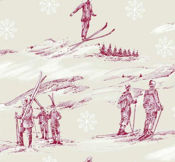 Stoff Meterware Baumwolle natur rot Ski Nostalgie
