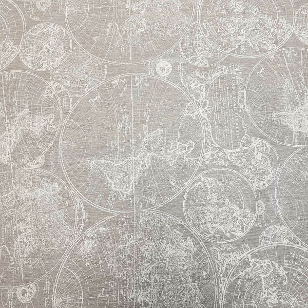 Stoff Meterware beschichtet Weltkarte hellgrau weiß Wachstuch Tischdecke 0,5