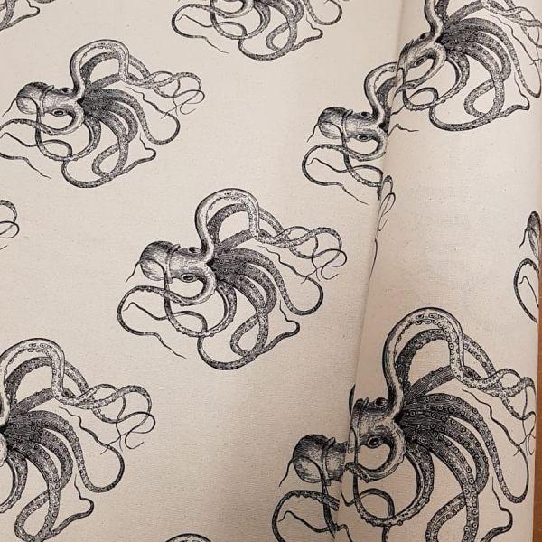 Stoff Baumwolle natur Oktopus Krake schwarz