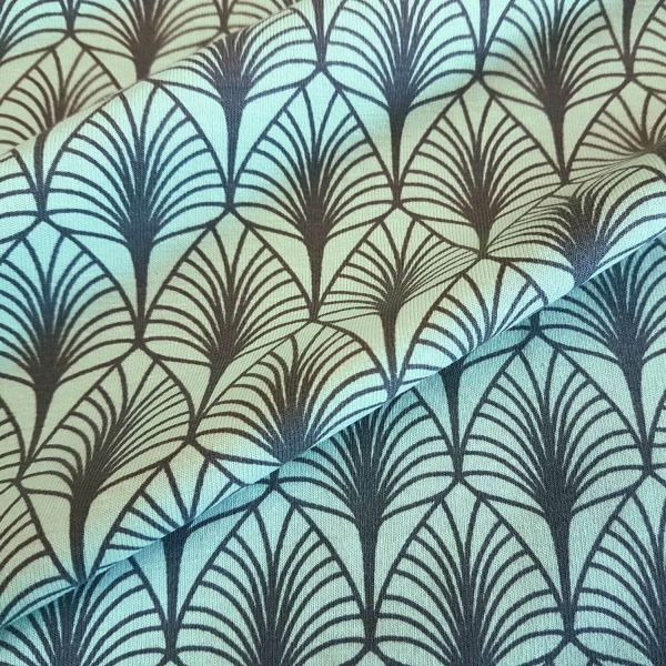 Stoff Baumwolle Jersey Gasby Art Deco Blätter mint grau 0,5