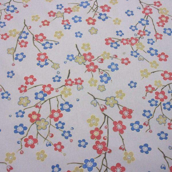 Stoff Baumwolle Zweige+ Kirschblüten grau Kimono 280cm breit