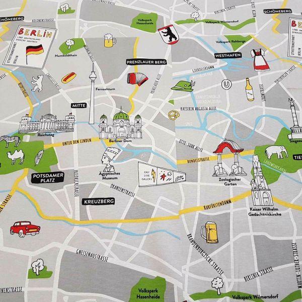 Stoff Meterware Baumwolle pflegeleicht Berlin Stadtplan