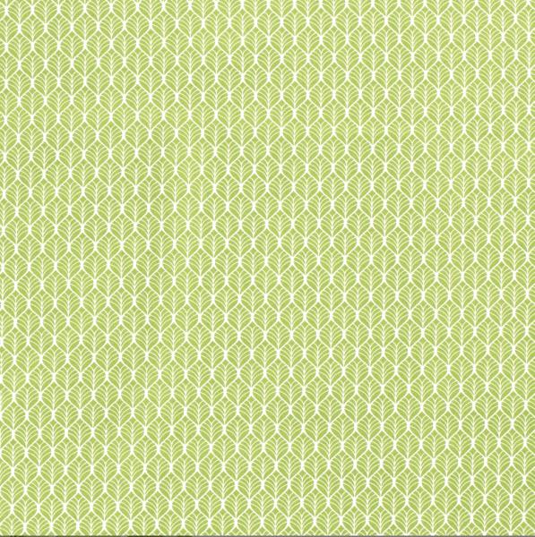 Stoff Baumwolle Popeline apfelgrün Blätter weiß 0,5