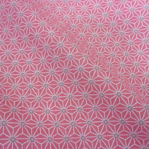 Stoff Baumwollstoff Japan Asanoha Grafik rosa grau weiß Kimono