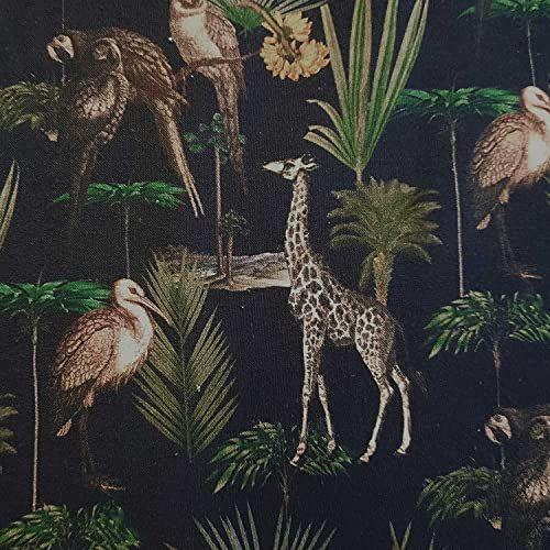 Stoff Meterware Baumwolle schwarzblau Tiere Palmen 0,5