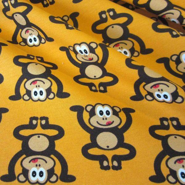 Stoff Meterware Jersey Affe gelb bananengelb braun Ökotex