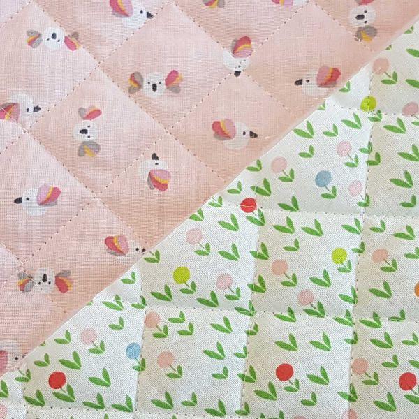 Kurzstück Stoff Meterware Steppstoff Baumwolle Doubleface Blümchen und Vögelchen rosa 0,90m x 1,38m