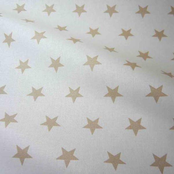 Stoff Baumwolle Sterne Stars weiß beige groß 2,2cm