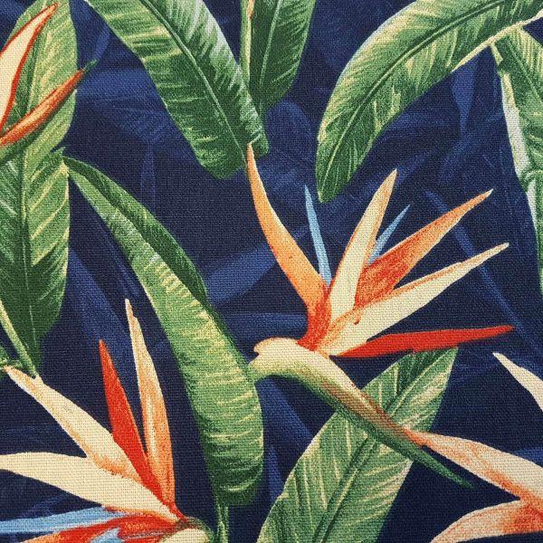 Stoff Baumwolle Meterware Strelitzie groß blau orange Frankreich Dekostoff