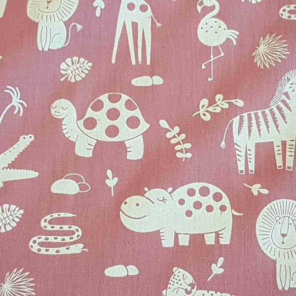 Stoff Meterware Baumwolle beere Tiere Giraffe Nilpferd Popeline 0,5