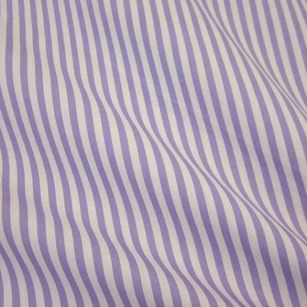 Stoff Baumwolle Popelinel lila weiß Streifen gestreift 5 mm