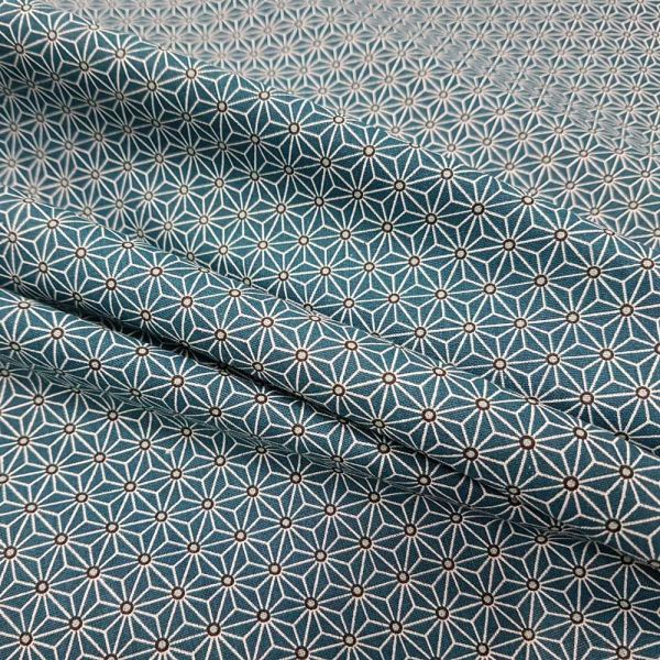 Kurzstück Stoff Baumwollstoff Japan Asanoha Grafik petrol dunkeltürkisweiß Kimono 0,80mx 1,60m
