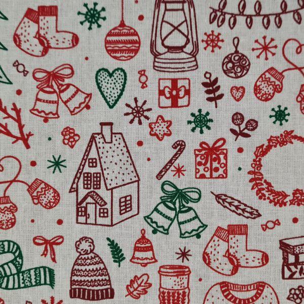 """Stoff Baumwolle """"Gingerbread"""" Weihnachtsmotive rot grün 0,5 Weihnachtsstoff"""