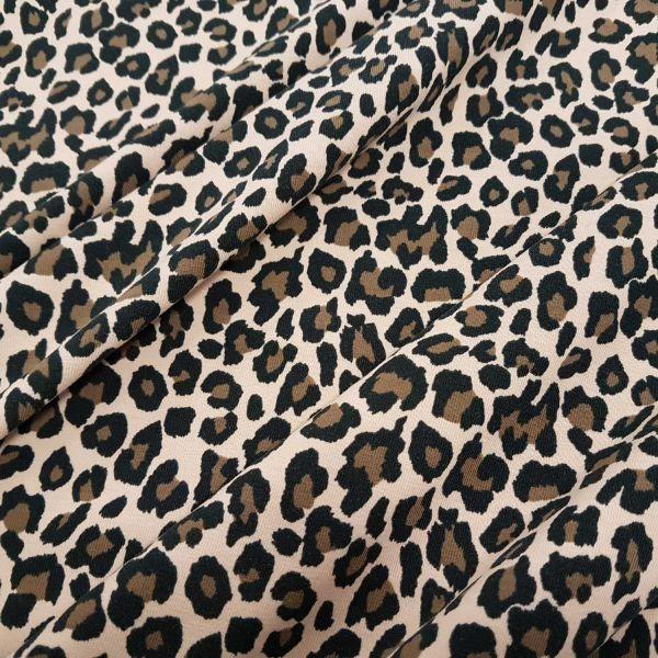 Stoff Jersey Baumwolle Leo Animalprint Leopard beige braun