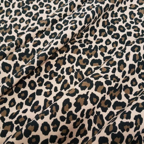 Kurzstück Stoff Jersey Baumwolle Leo Animalprint Leopard beige braun 0,75m x 1,40m