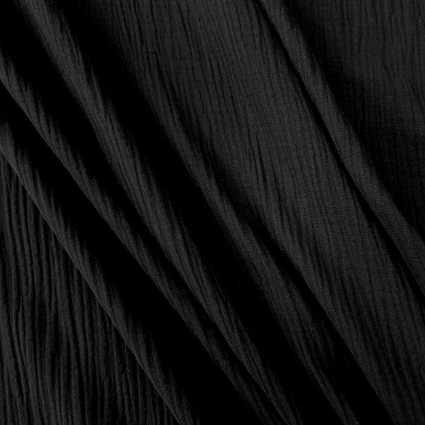 Stoff Baumwolle Musselin Mulltuch schwarz uni