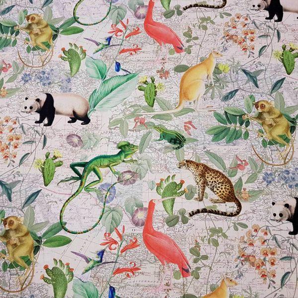 Stoff Meterware Baumwolle Fotodruck exotische Tiere bunt Weltkarte
