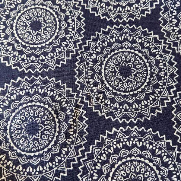 Stoff Meterware Baumwollstoff indigo weiß Mandala Vehlo Dekostoff Kleiderstoff