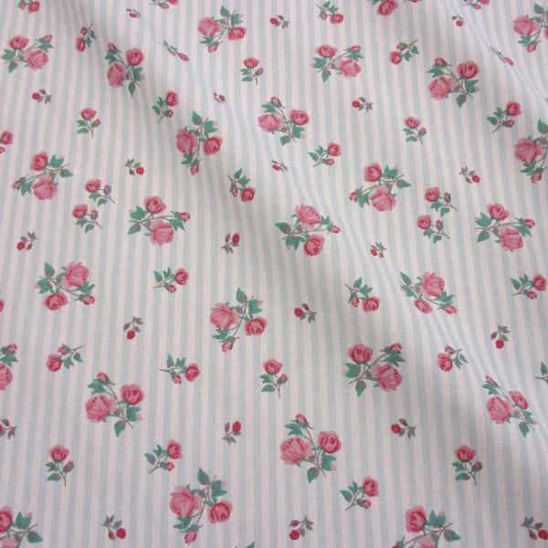 Stoff Meterware Baumwolle Streifen mint Rosen nostalgisch