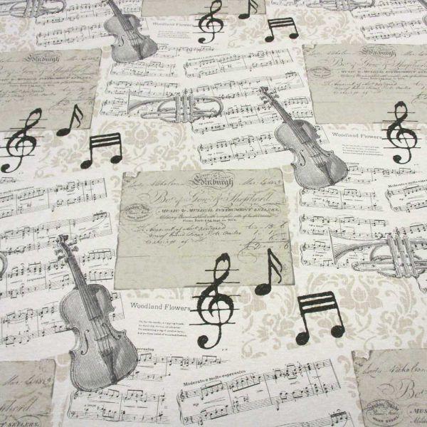 Stoff Baumwolle pflegeleicht Noten Musikinstrumente ecru grau