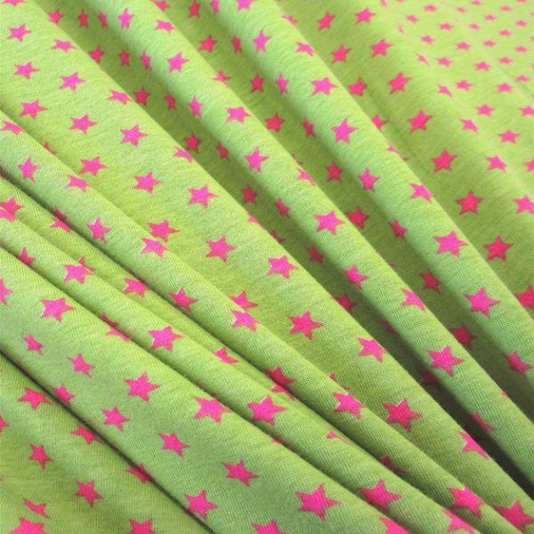 Stoff Baumwolle Jersey Sterne Stern kiwi pink