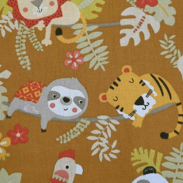Stoff Baumwolle Cool Faultier Panda Löwe Currygelb 0,5