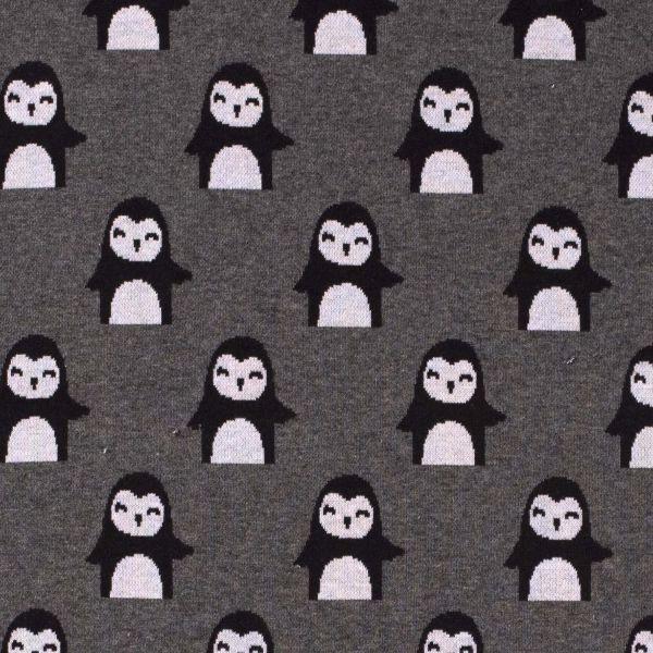 Stoff Meterware Baumwoll Jacquard Jersey Pinguin Flanelloptik 0,5