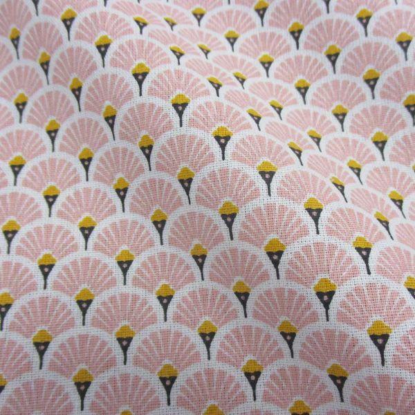 Stoff Baumwolle japanische Fächer rund rosa