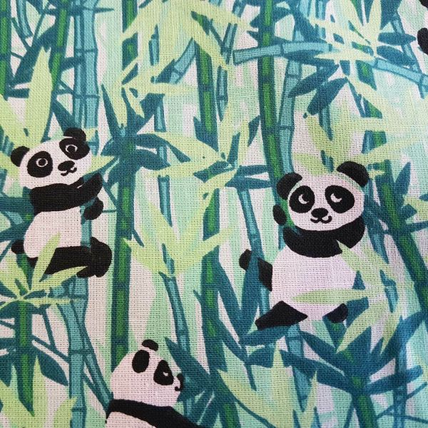Stoff Baumwolle Meterware Panda Bambus grün Baby Zoo 0,5