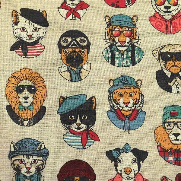 Stoff Baumwolle ecru Tiere Portraits Hund Katze bunt Frankreich Dekostoff DIY 0,5