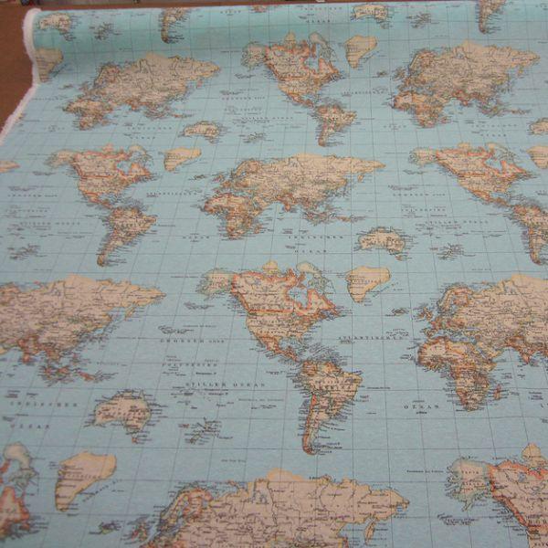 Stoff Karte Weltkarte hellblau Kontinent Erde