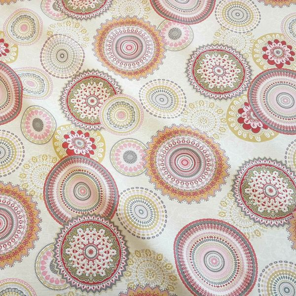Kurzstück Stoff Meterware Baumwolle pflegeleicht Mandala creme rosa grau Kreise bunt Deko 0,60m x 1,